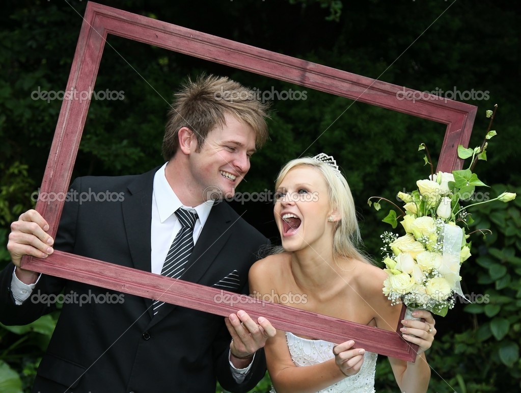Framed Happy Wedding Couple