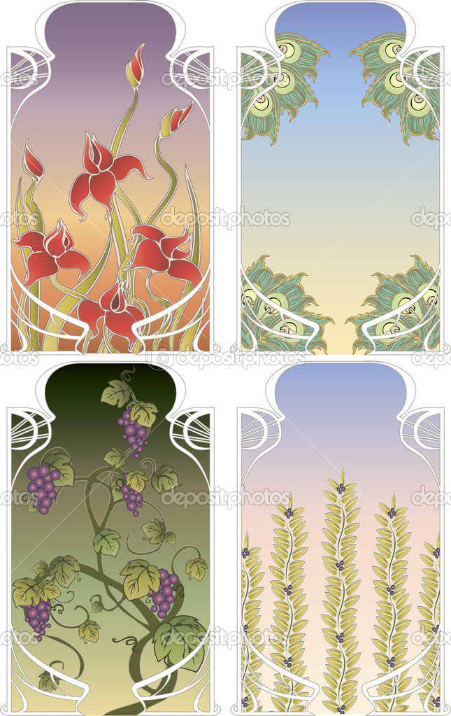 Background frames in art Nouveau style