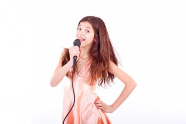 Teen girl with microphone