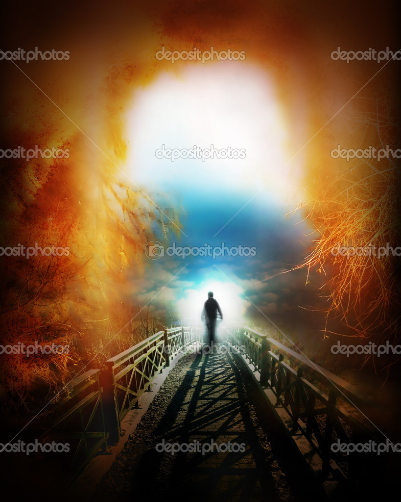 Life after death, religious fantasy illustration stock vector
