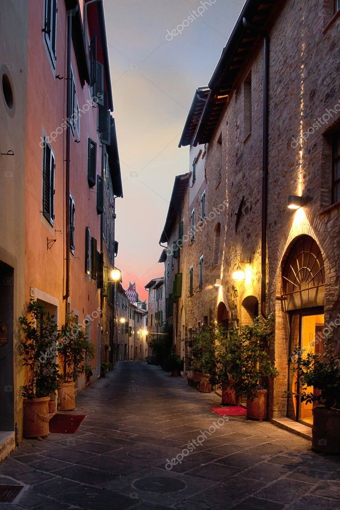 San Quirico d'Orcia typical Italian street overnight