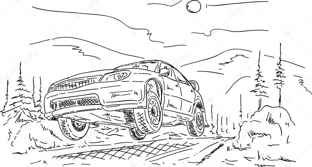 Dibujos: para colorear coches de rally | coche de Rally de salto