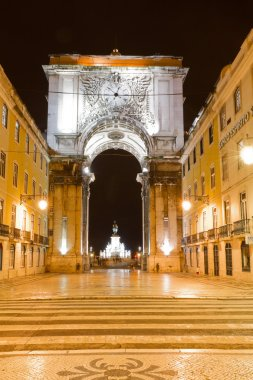 Triumphal arch at night, Lisbon, Portugal