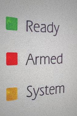 Armed home security alarm system panel macro closeup