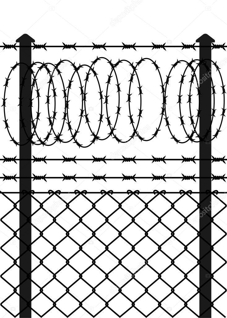 valla de alambre con alambre de pas Archivo Imgenes Vectoriales