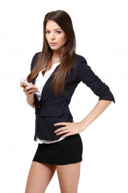 Beautiful businesswoman read a short message