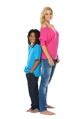 Rasta boy and young blonde woman posing in studio stock vector