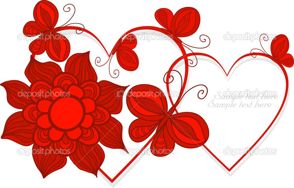 Love Heart Symbols With Butterflay And Flowers Vector Stock