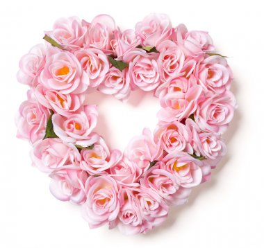 Heart Shaped Pink Rose Arrangement on White