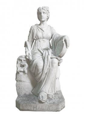 Statue of a greek muse isolated on white
