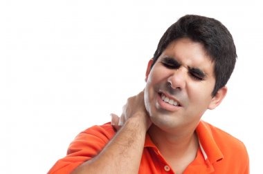 Very stressed hispanic man suffering from neck pain