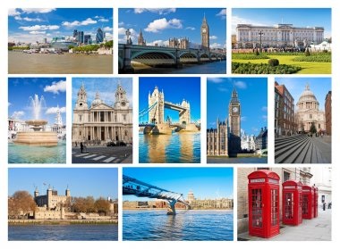 Collage of iconic London landmarks and symbols