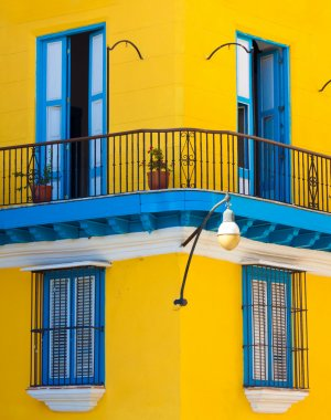 Detail of an old colorful house in Havana