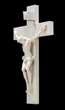 The crucifixion of Jesus isolated on black