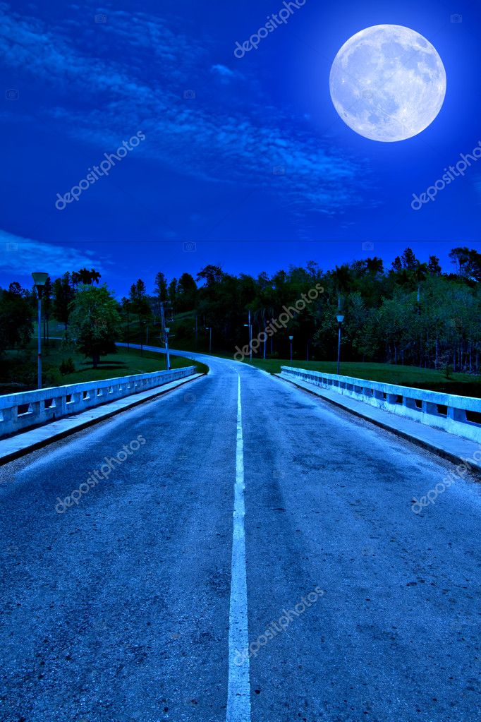 Lonely road at night illuminated by the moon