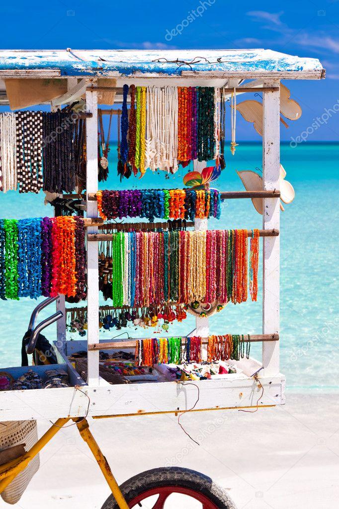 Cart selling souvenirs on the cuban beach of Varadero