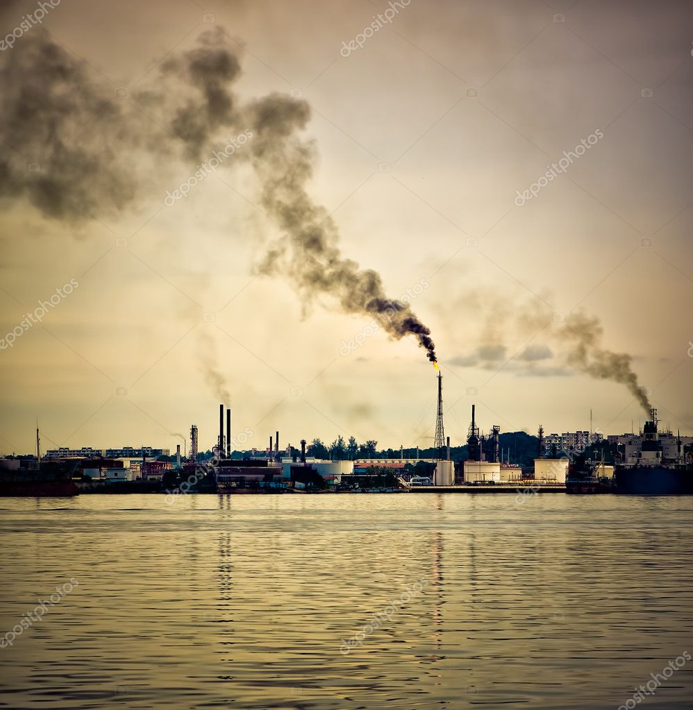 Oil refinery polluting the atmosphere