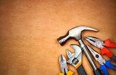 sada ručních nástrojů na dřevo panel