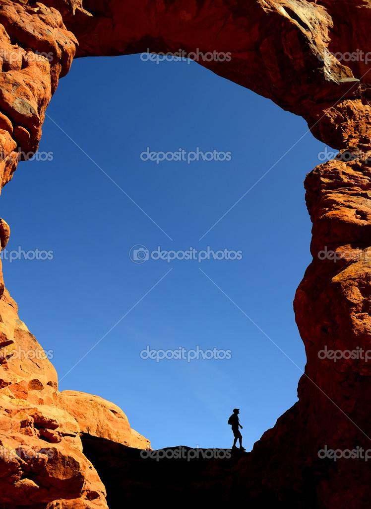 Man Hiking in Arches National Park