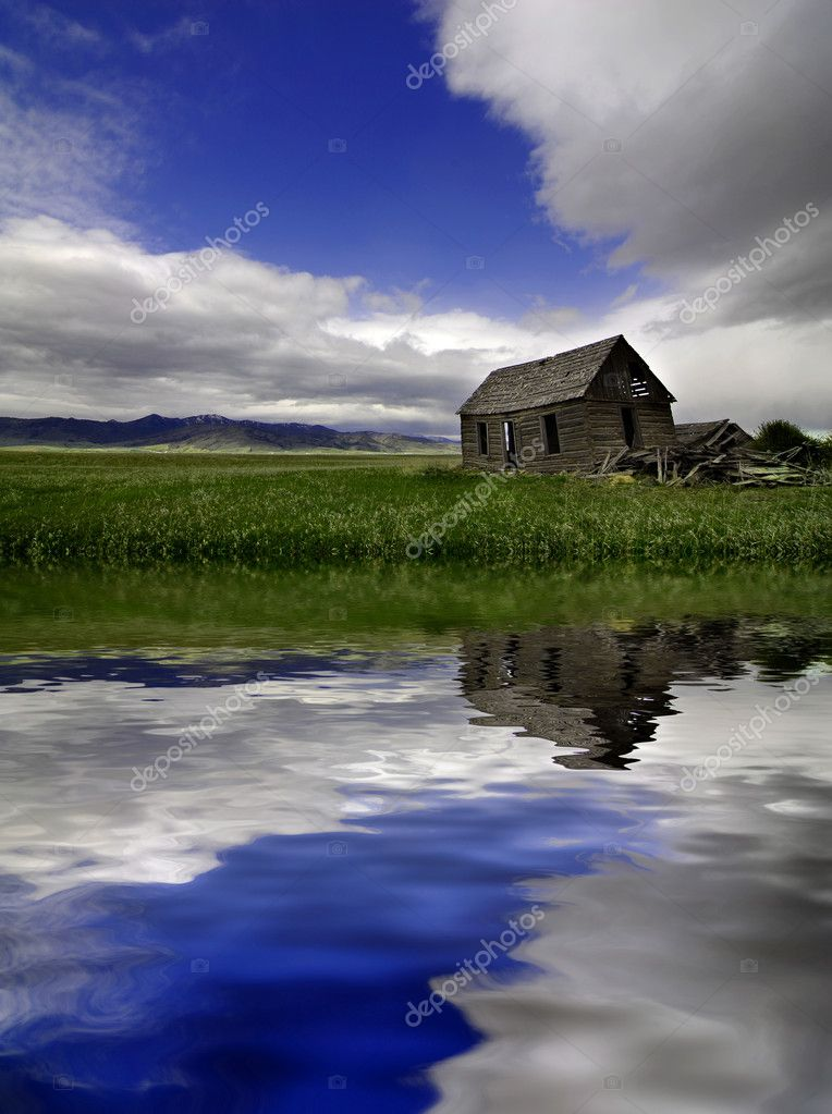 Old Homestead in Field Reflection