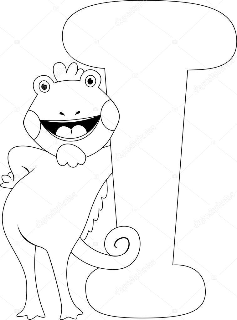iguana de página para colorear — Fotos de Stock © lenmdp #8942720