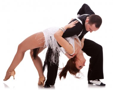 Passionate salsa dancing couple