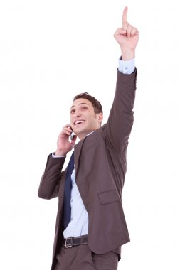 Happy business man with cellular phone