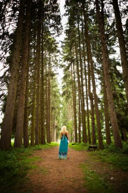 Woman walking in the fir woods