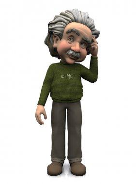Cartoon Albert Einstein thinking.