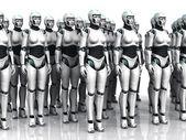 Skupina spící android žena