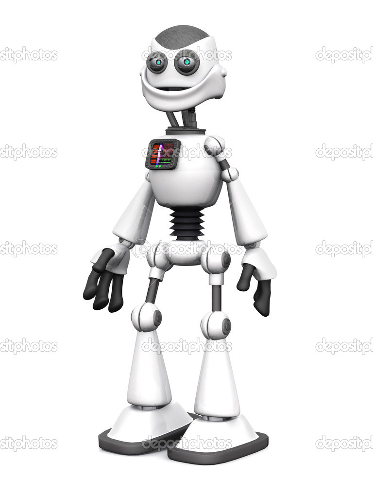 Bianco sorridente robot dei cartoni animati u foto stock sarah