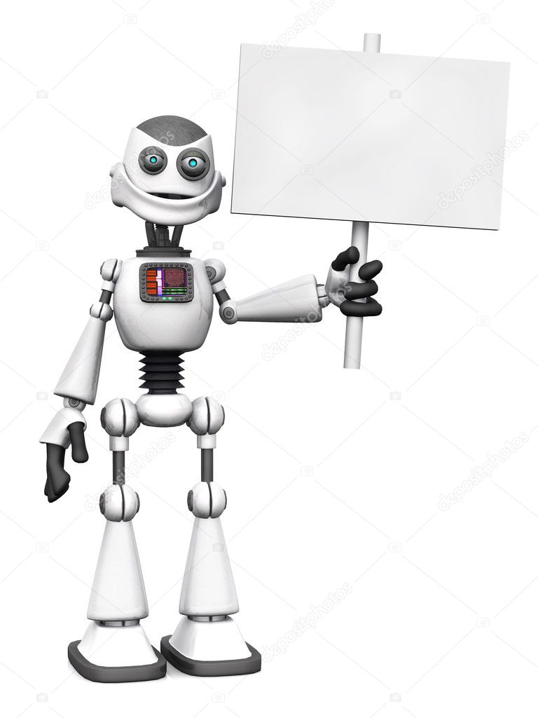 Bianco sorridente robot dei cartoni animati con cartello u foto