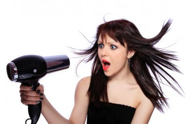 Woman with fashion hairstyle holding hairdryer