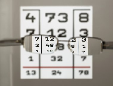Eye test chart with eyeglasses