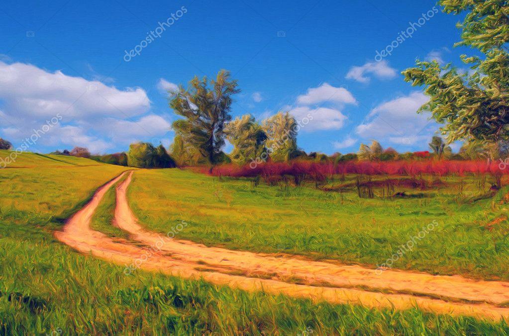 Landschap schilderij weergegeven landweg die door de for Schilderij natuur