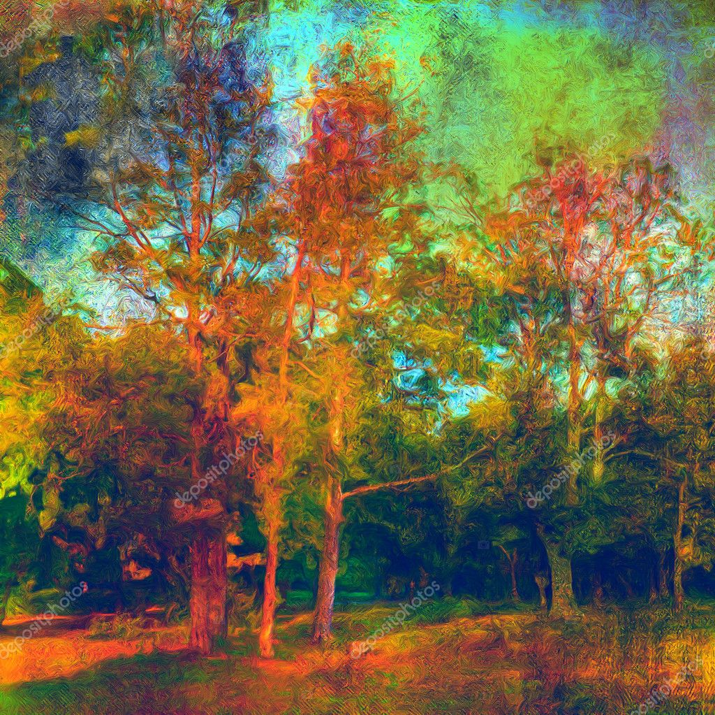 Landscape painting showing all the beauty of the autumn colors