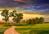 krásná krajina malba zobrazující silnice, stromy, louka a bouřlivých mračen