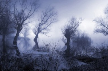 Dark landscape painting showing trees in the misty swamp