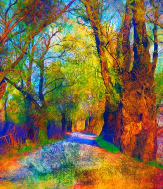 Landscape painting showing road through the forest on bright autumn day