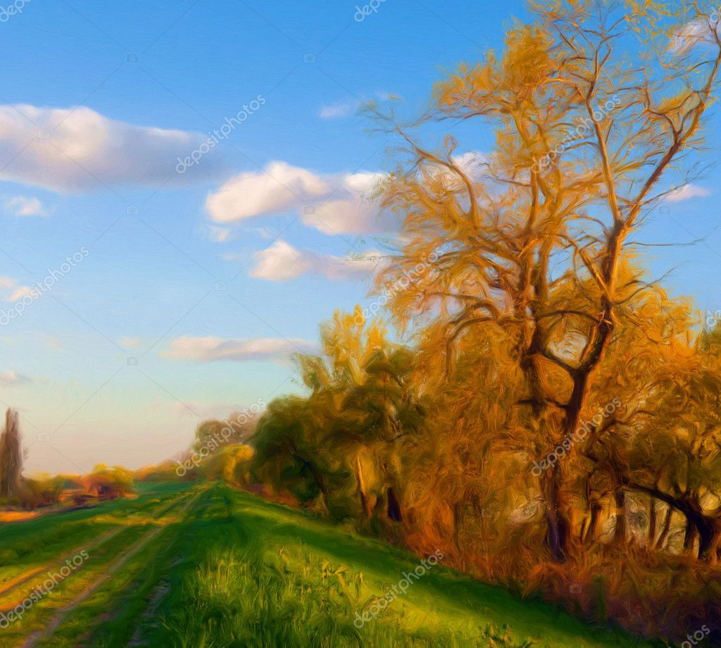 Landscape painting showing country road beside the forest