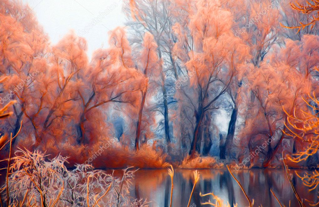 Landscape painting showing beautiful orange forest beside the river
