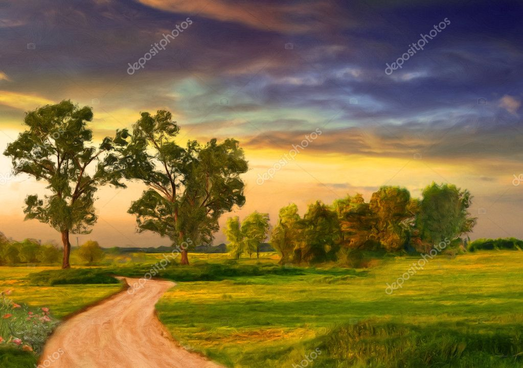 Beautiful landscape painting showing road, trees, meadow and stormy clouds
