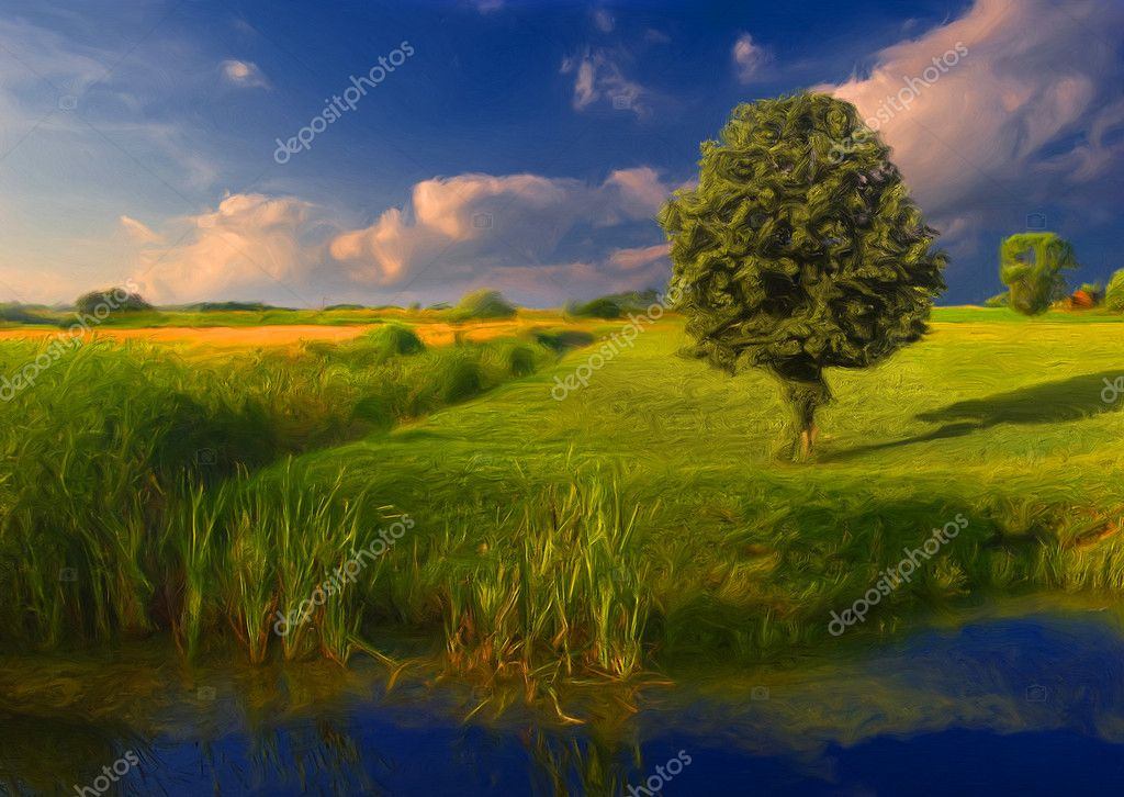 Landscape painting showing vast meadow, channel and the tree
