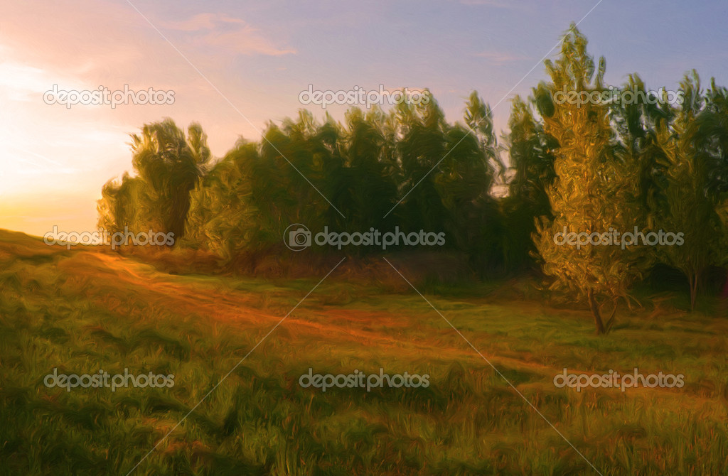 Фотообои Landscape painting done by me showing beautiful orange sunlight falling on
