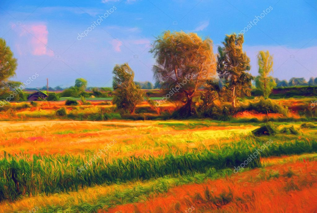 Landscape painting showing cultivated land and trees on sunny summer day