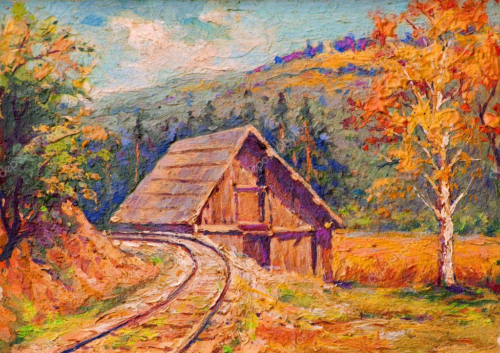 Фотообои Картина маслом, показывающие железнодорожные пути проходящие через нетронутой природы