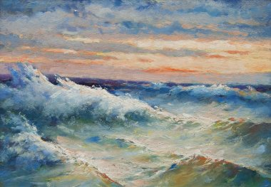 Oil painting showing huge sea waves during the storm