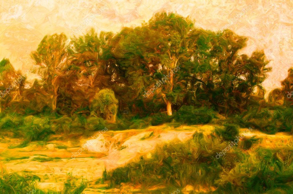 Landscape painting showing forest and eroded land in front of it