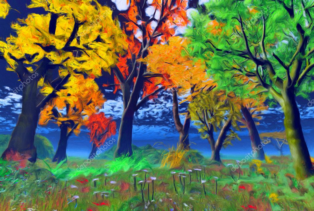 Landscape painting showing blooming of nature in summer