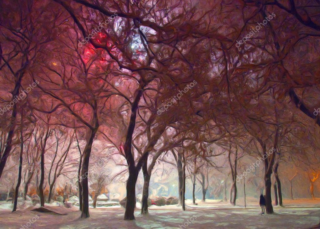 Painting showing park lighted by fireworks on new years eve